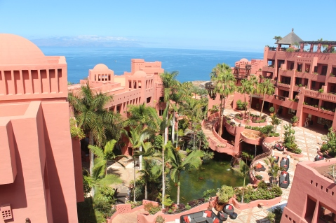 The red buildings of the Ritz-Carlton Abama, Tenerife looking out to sea.