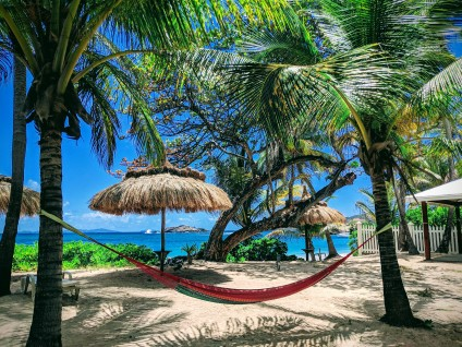 Hammock stretched between two palm trees at Bequia Beach Hotel on the island of Bequia in the Grenadines
